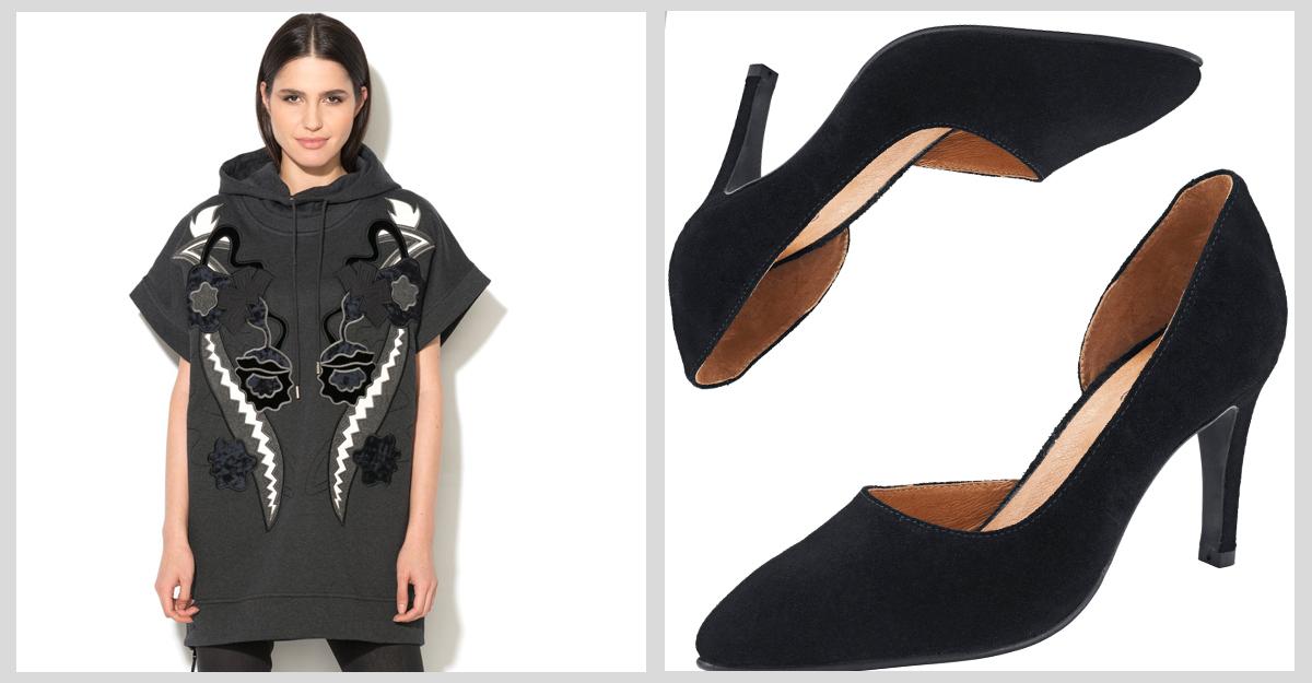 Hanorac si pantofi stiletto