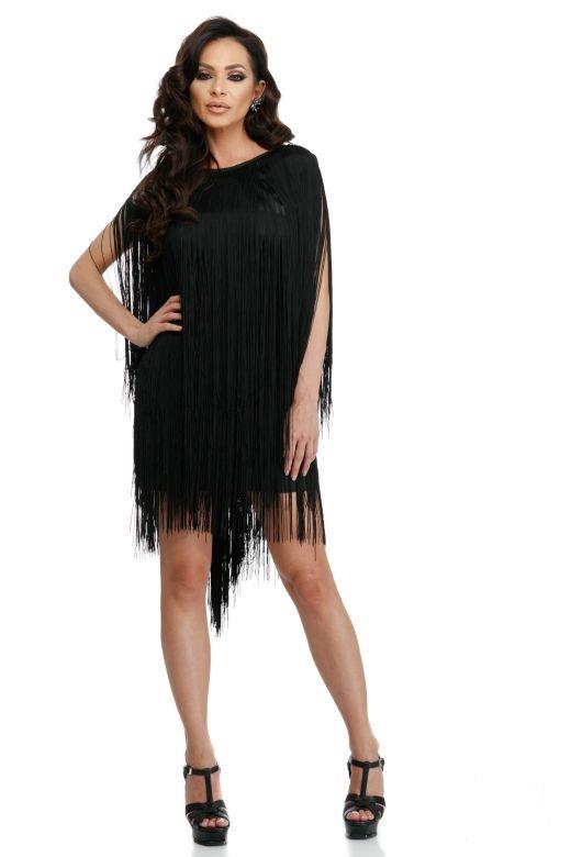 rochie neagra de seara cu franjuri