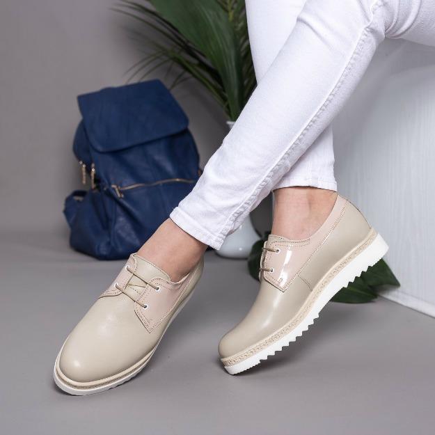 Pantofi Derby din piele naturala bej