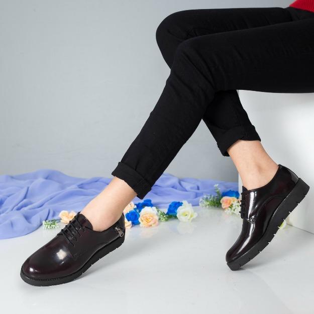 Pantofi Derby din piele naturala bordo