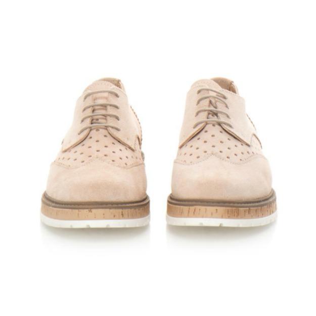 Pantofi Derby din piele naturala roz