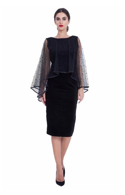 Rochie cu capa din tul