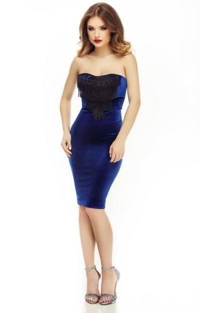 Rochie din catifea albastra