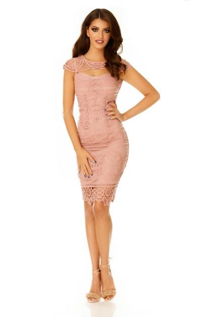 Rochie midi roz pudra