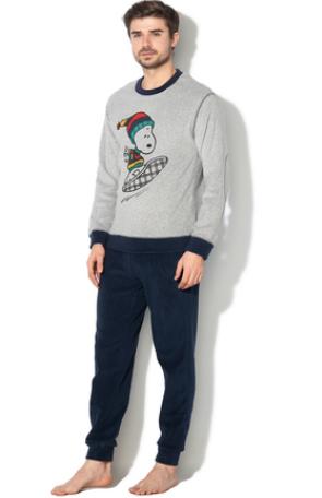 pijama de craciun fleece pentru barbati bleumarin si gri