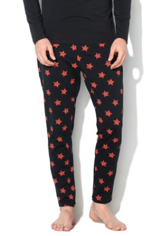 pijama de iarna barbati negru cu stele rosii