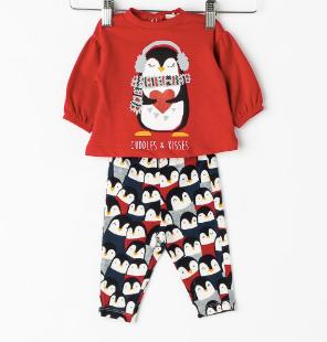 pijama de craciun pentru copii cu pinguini, unisex
