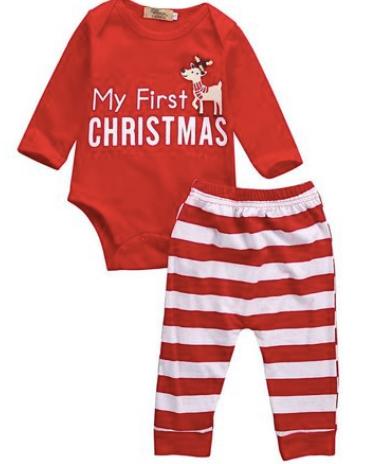 pijama de craciun unisex din bumbac pentru copii my first christmas