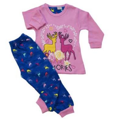 pijamale roz de iarna sau craciun pentru fetite