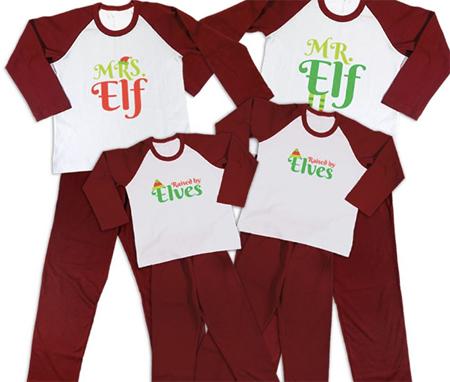 pijamale de craciun set pentru intreaga familie mesajul elf
