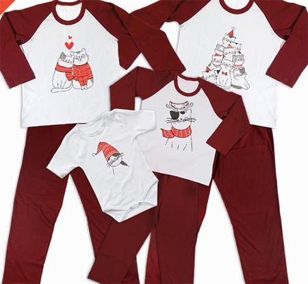 pijamale de craciun, cu pisici, pentru intreaga familie, set 4 pijamale