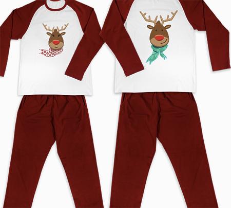 pijamale de craciun personalizate cu model ren pentru cupluri