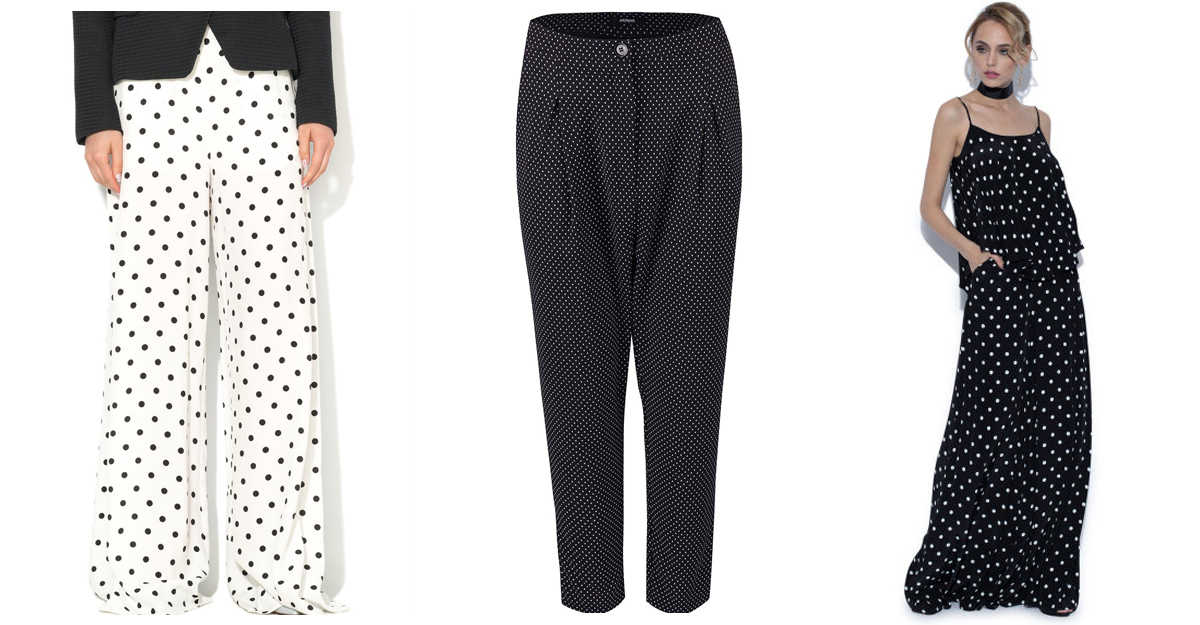 Pantaloni eleganti cu buline