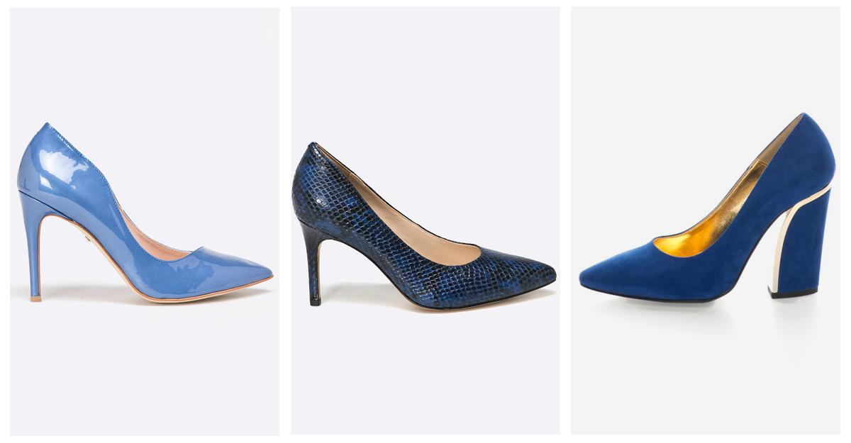 Pantofi albastri cu toc