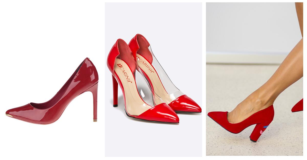 Pantofi rosii cu toc