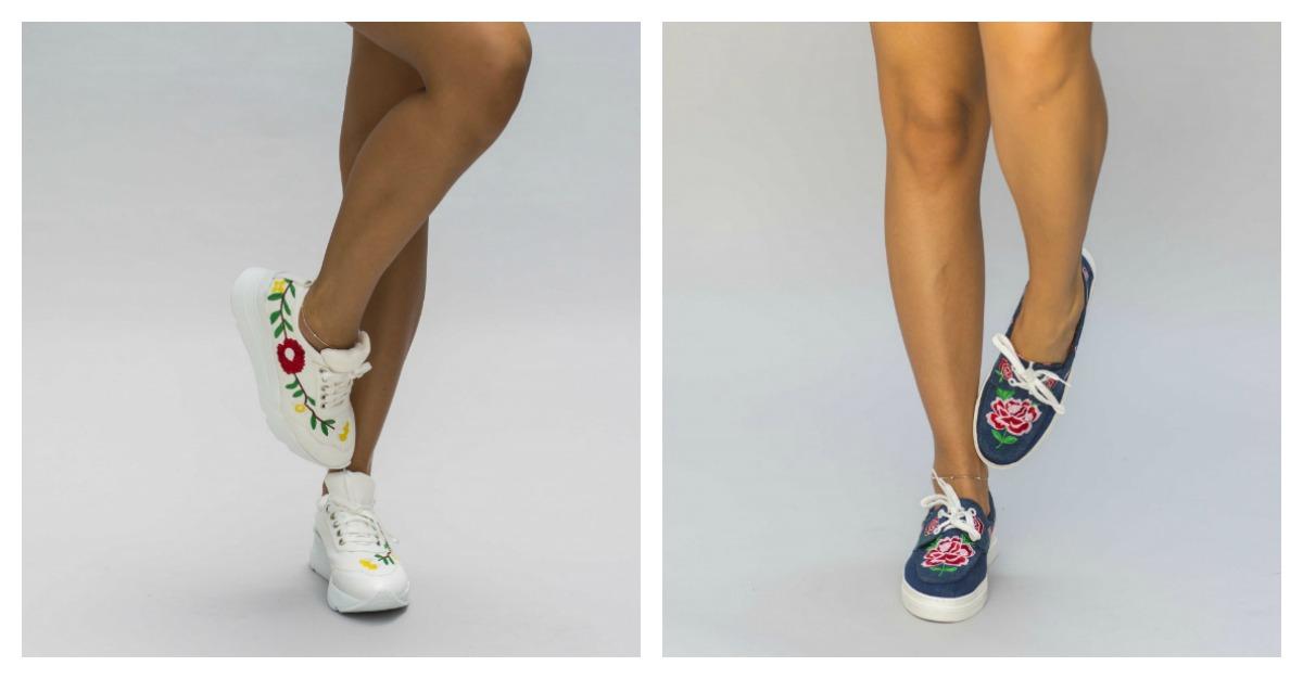Pantofi sport cu broderii florale