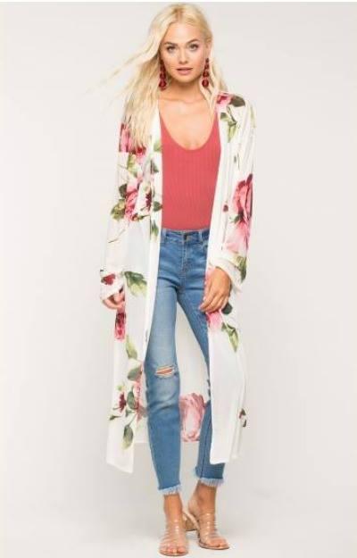 Cardigan cu imprimeu floral