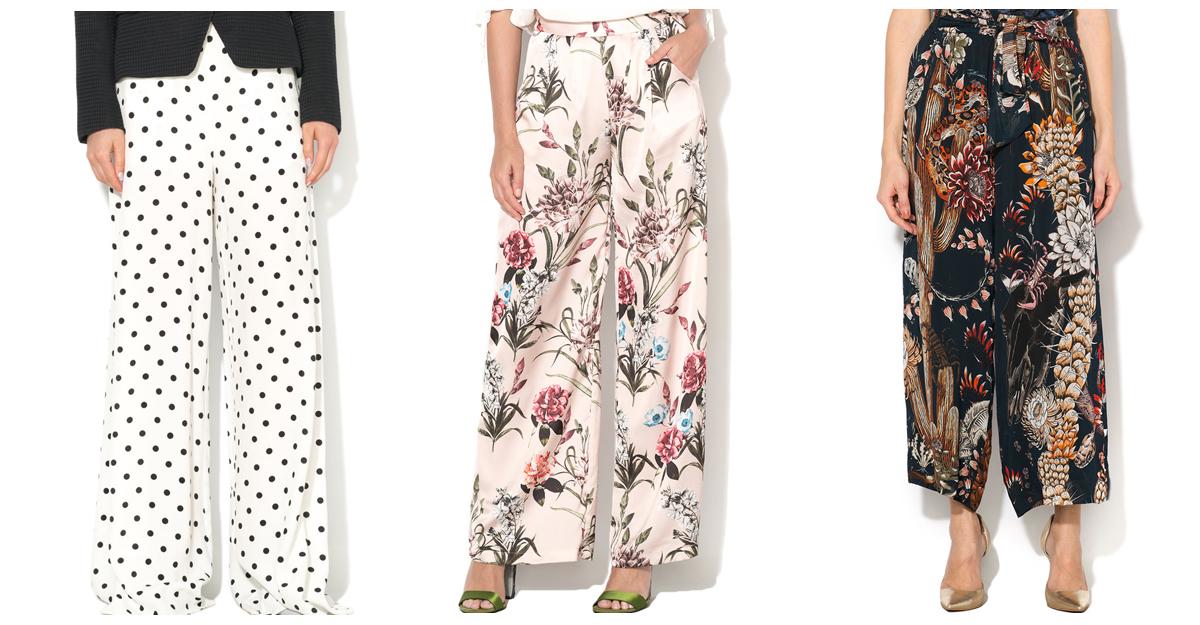 Pantalonii cu talie inalta cu imprimeu se poarta retro!