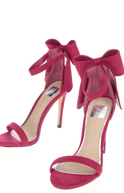 Sandale cu toc subtire si funda decorativa