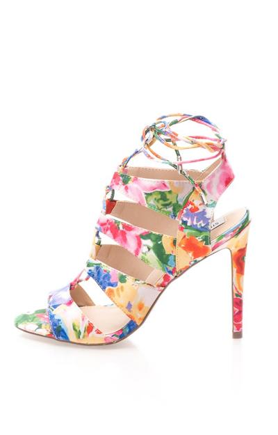 Sandale cu toc subtire si imprimeu floral