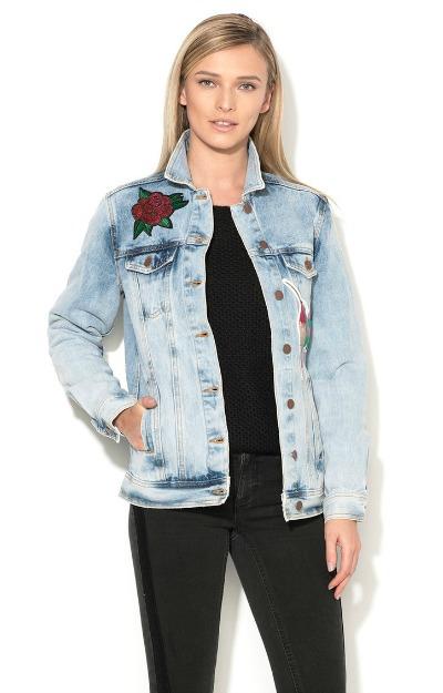 Jacheta din denim cu broderie florala