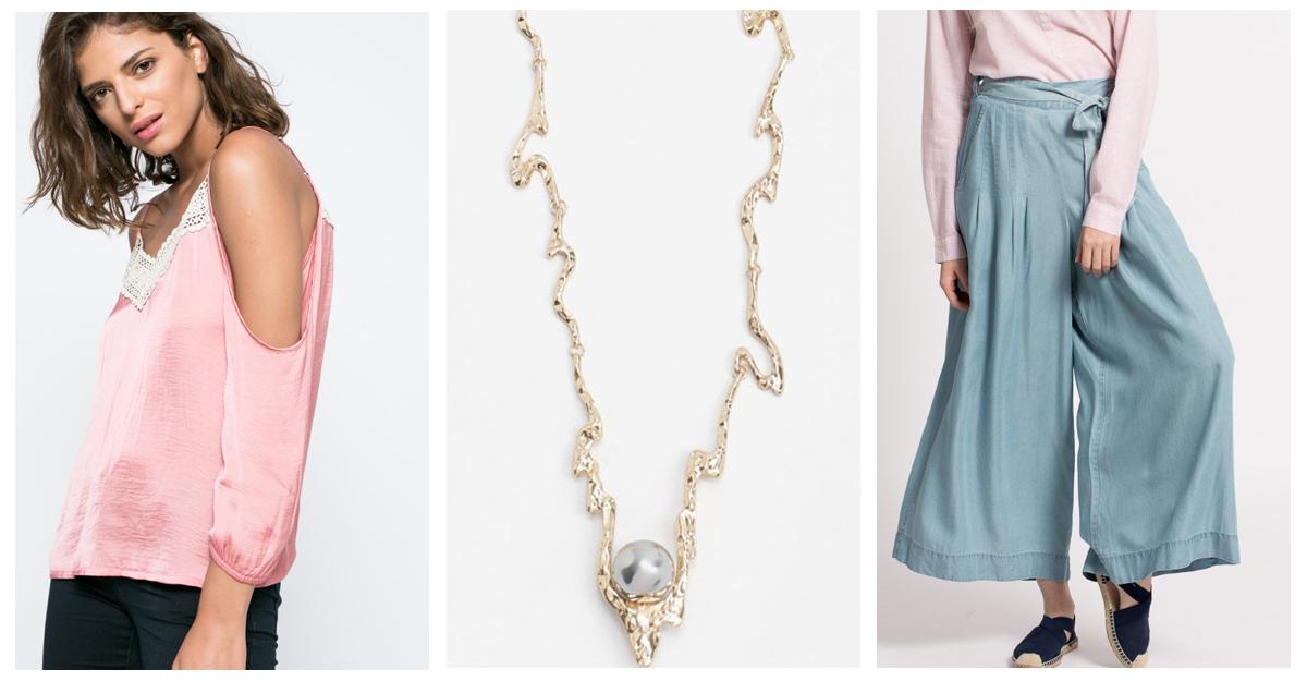 Coliere elegante cu perle in tinuta casual feminina
