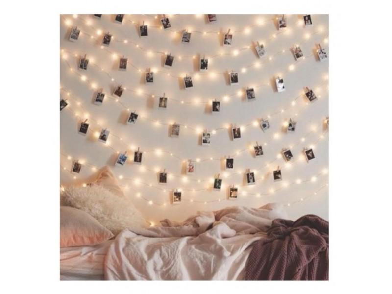 ghirlandă luminoasă decorativă cu cleme de prins fotografii
