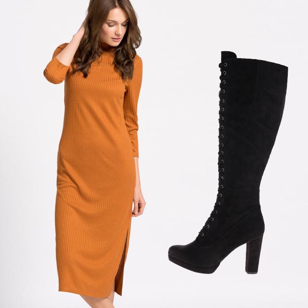 Rochie tricotata si cizme lungi
