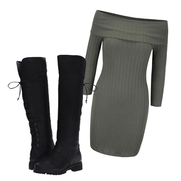 Rochie tricotata si cizme tip bocanci