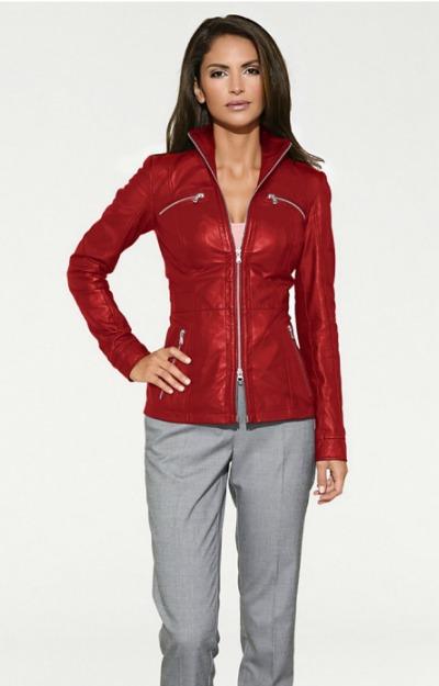 Jacheta din piele rosie