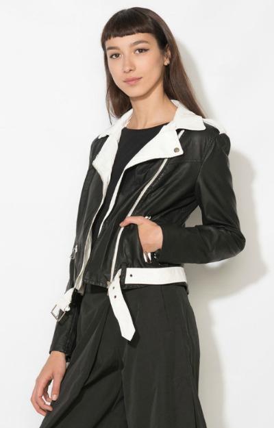 Jacheta din piele negru cu alb