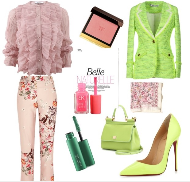 Outfit romantic in combinatie de roz pal si verde fistic
