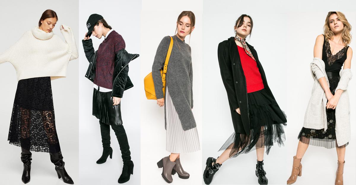 Modele de fuste pretioase purtate cu tricotaje