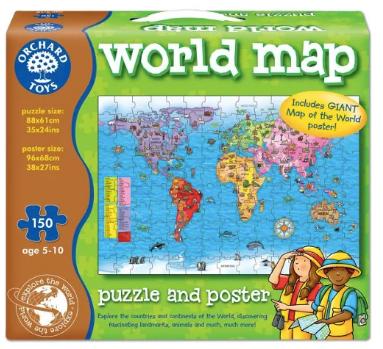 idei de jocuri si jucarii copii cadouri craciun puzzle 150 piese harta lumii
